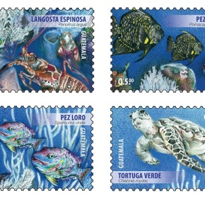 """Sello postal """"Sistema del Arrecife Mesoamericano-Especies en Peligro deExtinción"""""""