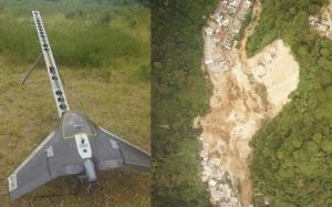 Un dron toma fotos del área donde ocurrio el deslave.