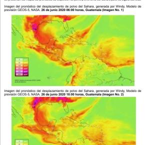 Presencia de la nube de polvo delSahara