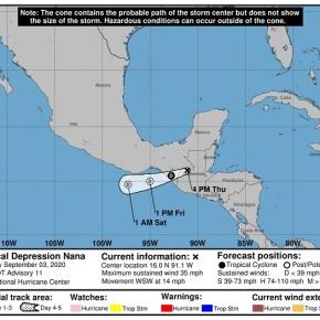 Nana se debilita a Depresión, lluvias continuarán por 72horas