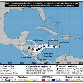 Se forma la tormenta tropicalEta