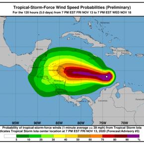 Monitorean trayectoria de la tormenta tropicalIOTA