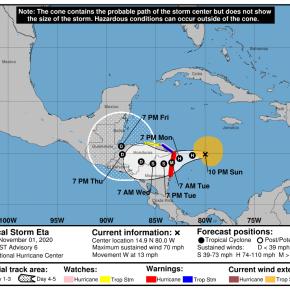 Emiten avisos por Tormenta tropicalEta