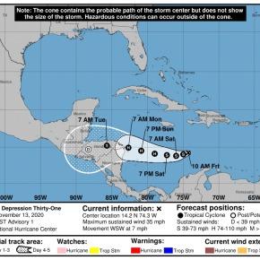 Otra depresión tropical, se dirige aGuatemala