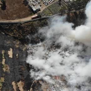 Combate incendio en km 22 de la CA-09, interiorAMSA