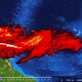 El dióxido de azufre del volcán La Soufriere por elAtlántico
